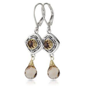Sara Blaine Sterling Silver & 18k Gold Smoky Quartz Earrings