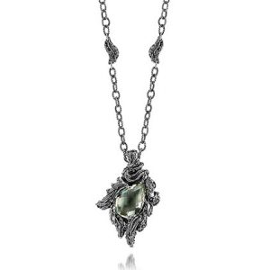 Sterling Silver Green Amethyst Necklace