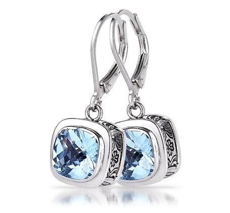 Sterling Silver Blue Topaz Leverback Earrings