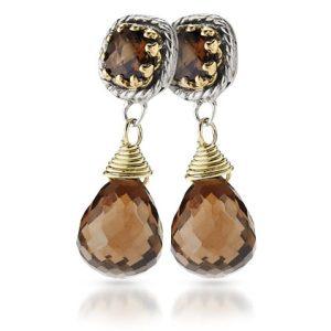 Sterling Silver & 18k Gold Smoky Quartz Earrings